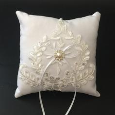 Hermoso Cojín en Satén/Encaje con Cintas/La perla de faux (103096226)