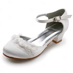 Kvinner Satin Lav Hæl Lukket Tå Flate sko med Spenne Syning Blonde (047011900)
