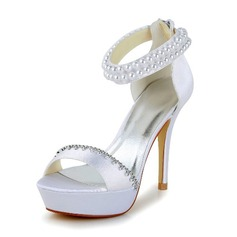 Femmes Satin Talon stiletto Escarpins Sandales avec Imitation perle Strass Zip (047040237)