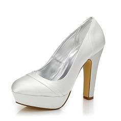 Frauen Satin Stämmiger Absatz Geschlossene Zehe Absatzschuhe Färbbare Schuhe (047088671)