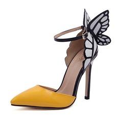 Donna Similpelle Tacco a spillo Stiletto Punta chiusa con Fibbia scarpe (087052197)