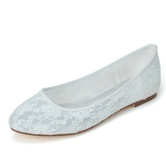 Women's Lace Flat Heel Closed Toe Flats (047058262)