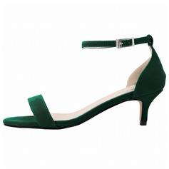 Donna Camoscio Tacco basso Sandalo Punta aperta scarpe (087091910)