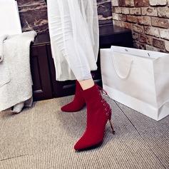 Frauen Veloursleder Stöckel Absatz Absatzschuhe Stiefel Stiefel-Wadenlang mit Reißverschluss Zuschnüren Schuhe (088130799)