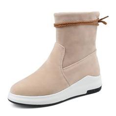 Frauen Veloursleder Flascher Absatz Flache Schuhe Stiefelette mit Zuschnüren Schuhe (088144275)