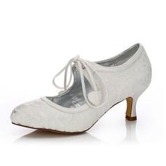 Frauen Lace Satin Niederiger Absatz Geschlossene Zehe Absatzschuhe Färbbare Schuhe (047088637)