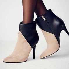 Frauen Lackleder Stöckel Absatz Stiefel mit Rüschen Schuhe (088106107)