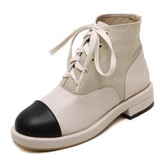 Frauen Leinwand PU Stämmiger Absatz Plateauschuh Geschlossene Zehe Stiefel Stiefelette mit Zuschnüren Schuhe (088153019)