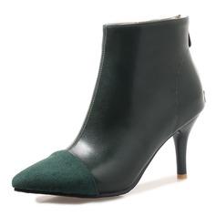 Frauen Veloursleder Kunstleder Stöckel Absatz Absatzschuhe Stiefel Stiefelette Stiefel-Wadenlang mit Zweiteiliger Stoff Schuhe (088172957)