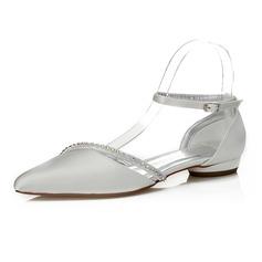 Frauen Satin Flascher Absatz Geschlossene Zehe Färbbare Schuhe mit Strass (047088657)