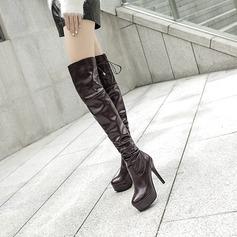 Frauen PU Stöckel Absatz Absatzschuhe Plateauschuh Stiefel Kniehocher Stiefel mit Zuschnüren Schuhe (088137519)
