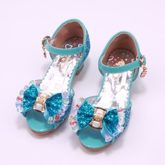 Girl's Round Toe Peep Toe Leatherette Flower Girl Shoes With Bowknot (207200904)