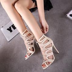 Frauen Kunstleder Stöckel Absatz Stiefel Peep Toe Stiefelette mit Zuschnüren Schuhe (088111704)