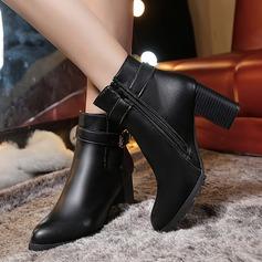 Frauen PU Stämmiger Absatz Absatzschuhe Geschlossene Zehe Stiefelette mit Funkelnde Glitzer Reißverschluss Schuhe (088131773)
