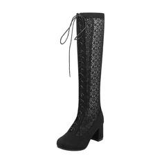 Frauen Veloursleder Spitze Stämmiger Absatz Stiefel Kniehocher Stiefel mit Zuschnüren Schuhe (088172963)
