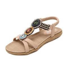 Frauen Kunstleder Flascher Absatz Sandalen Flache Schuhe Peep Toe Slingpumps mit Strass Schuhe (087087968)