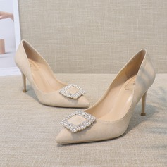 Women's Suede Stiletto Heel Closed Toe Pumps With Crystal (047193138)