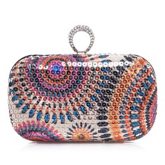 Fashional Satin With Sequin/Rhinestone Clutches (012028015)