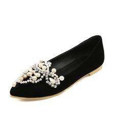 Vrouwen Suede Flat Heel Flats Closed Toe met Strass Imitatie Parel schoenen (086086200)