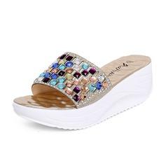 Keinonahasta Wedge heel Sandaalit Tossut jossa Tekojalokivi kengät (087063137)