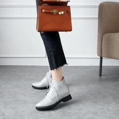 Frauen Kunstleder Stämmiger Absatz Flache Schuhe Stiefel Stiefelette mit Zuschnüren Schuhe (088139483)