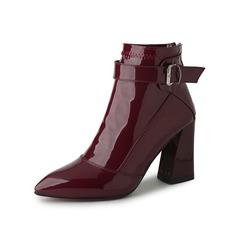 Frauen Lackleder Stämmiger Absatz Stiefelette mit Schnalle Schuhe (088097105)