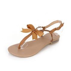 Kunstleer Flat Heel Sandalen Flip Flops met Strik schoenen (087047496)