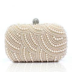 Magnifique Satiné/Pearl avec Strass Pochettes (012028129)