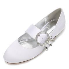 Frauen Seide wie Satin Flascher Absatz Geschlossene Zehe Flache Schuhe mit Kristall (047187631)