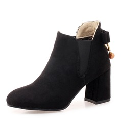 Frauen Veloursleder Stämmiger Absatz Stiefel Stiefelette mit Bowknot Schuhe (088172953)