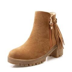 Frauen Veloursleder Stämmiger Absatz Absatzschuhe Stiefel Stiefelette mit Reißverschluss Quaste Schuhe (088145083)