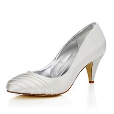 Frauen Satin Kegel Absatz Geschlossene Zehe Absatzschuhe Färbbare Schuhe (047088635)