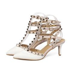 Donna Similpelle Tacco a spillo Sandalo Stiletto Punta chiusa Con cinturino con Rivet Fibbia scarpe (087112063)
