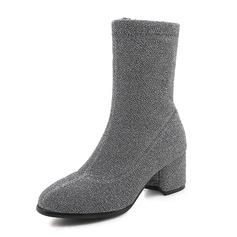 Frauen Veloursleder Stämmiger Absatz Stiefel Stiefel-Wadenlang Schuhe (088175355)