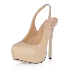 Leatherette Stiletto Heel Pumps Platform Closed Toe shoes (085017467)