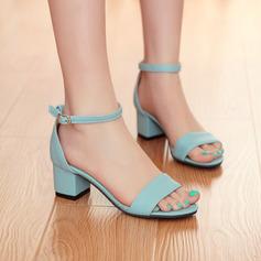 Vrouwen Kunstleer Chunky Heel Sandalen Pumps Peep Toe schoenen (087117157)