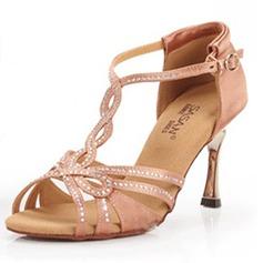 Vrouwen Satijn Hakken sandalen Latijn Bruiloft Partij met Rhinestone T-Riempjes Dansschoenen (053025579)