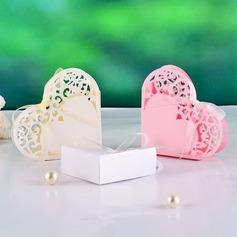 Elegante A forma di cuore Scatole di Favore con Nastri (set di 12) (050039030)