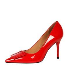 Frauen Lackleder Stöckel Absatz Absatzschuhe Geschlossene Zehe mit Bowknot Schuhe (085139795)