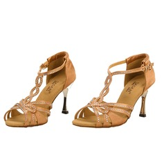 Women's Satin Heels Sandals Latin With Rhinestone T-Strap Dance Shoes (053025579)