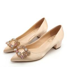 Women's Satin Chunky Heel Closed Toe With Crystal (047193139)