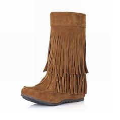 Frauen Wildleder Niederiger Absatz Stiefel-Wadenlang mit Quaste Schuhe (088097390)