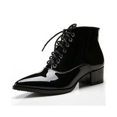 Donna Pelle verniciata Tacco basso Stiletto Stivali alla caviglia scarpe (088057404)