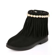 Ragazze Punta rotonda Stivali alla caviglia scamosciato Heel piatto Ballerine Stivali con Perla imitazione Nappa Cerniera (207153168)