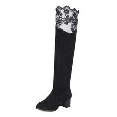 Frauen Wildleder Stämmiger Absatz Absatzschuhe Geschlossene Zehe Stiefel Kniehocher Stiefel mit Stich Spitzen Schuhe (088071257)