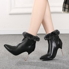 Frauen PU Stöckel Absatz Absatzschuhe Stiefel Stiefel-Wadenlang mit Reißverschluss Pelz Schmuckabsatz Schuhe (088130802)