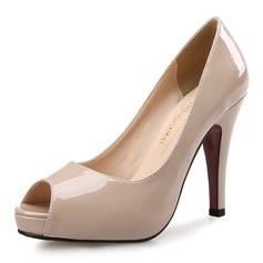 Donna Pelle verniciata Tacco a spillo Sandalo Stiletto Piattaforma Punta aperta scarpe (085095173)