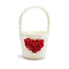 Bella Cesto di fiori in Raso con Cuore di Rose (102037487)