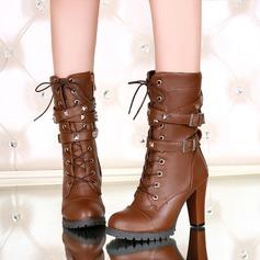 Donna Similpelle Tacco spesso Stiletto Stivali Stivali altezza media con Allacciato scarpe (088139492)