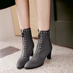 Frauen Veloursleder Stämmiger Absatz Absatzschuhe Stiefel mit Niete Reißverschluss Schuhe (088138197)